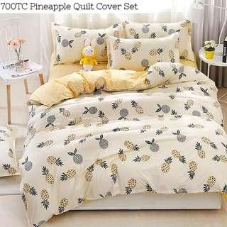 Cute Pineapple Soft Fitted Bedsheet Quilt Cover Set