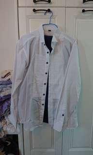 結婚物資 男裝白恤衫 中間有紋 新淨著過一次 #sellmar19
