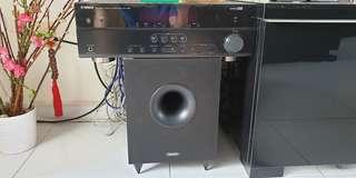 Yamaha audio receiver with Tannoy speakers and Sub