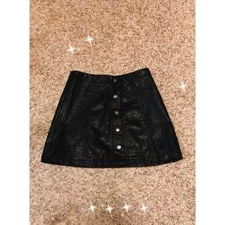 Faux Leather XS button up mini a line skirt F21