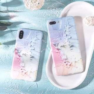 🚚 [preorder] iphone x pink oil painting unique casing