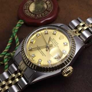SOLD-       26mm Rolex Lady Datejust Rolesor with Diamonds
