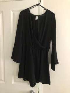 Black Long Sleeve Playsuit