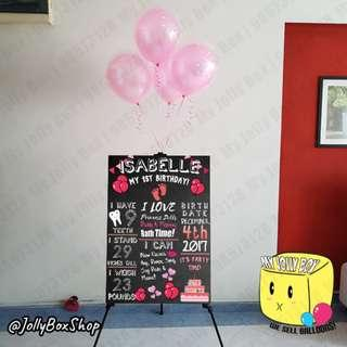Feb 24    A1 Foam Board Display with Easel (Rental) and 4 Balloon in Balloon (Helium)