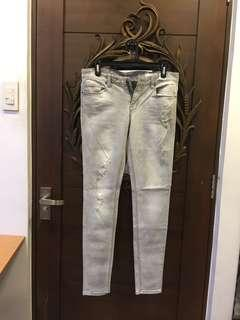 Giordano Gray Acid Washed Ripped Skinny Jeans