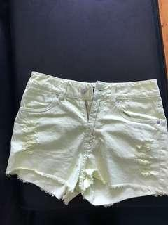 Lemon yellow high waisted ripped detail denim shorts 8