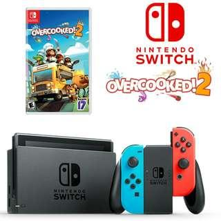 Nintendo Switch with Overcooked 2