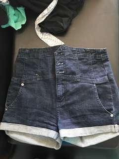 Dotti Navy dark denim high waist button shorts
