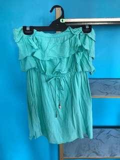 Bardot boob tube flowy dress mint size 10