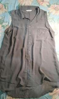 sheer top with collar H&M