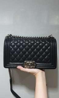 Chanel Le Boy Old Medium Black Shiny Caviar Ruthenium Hardware