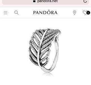Pandora Pave Feather Ring