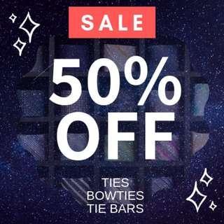 50% OFF: Men Ties, Neckties, Skinny Ties, Bow Ties, Tie Bars