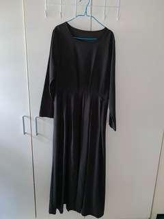 Long Black Dress with Front Slit