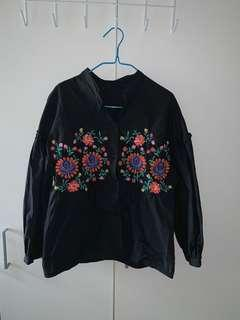 Embroidered Floral Black Long Sleeve Top