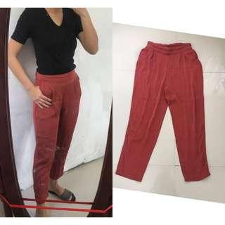Matte Red Soft Fabric Pants