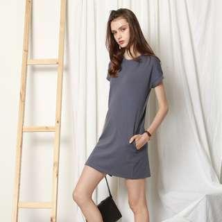 🚚 ACW Anticlockwise Carved Lines Tee Dress In Steel Blue (size M)