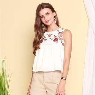 🚚 ACW Garden Floral Swing Top In White (size L)