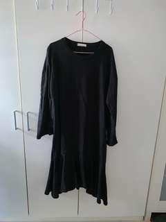NADA Midi Long Sleeve Black Dress