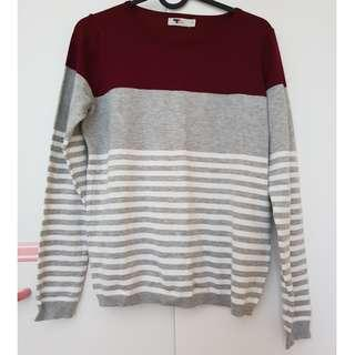 Maroon and Grey Stripe Jumper