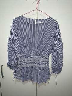 MNG SUIT Striped 3/4 Sleeve Top