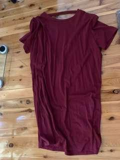 Maroon T-Shirt Dress W/ Chocker