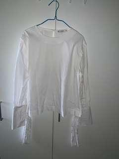 MANGO SUIT White Long Sleeve Top