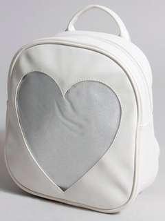 Beige White Heart Ita Bag