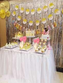Rental of Tulle Table cloth and party backdrop