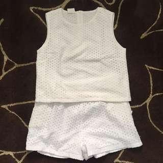 1 set White Eyelet Playsuit