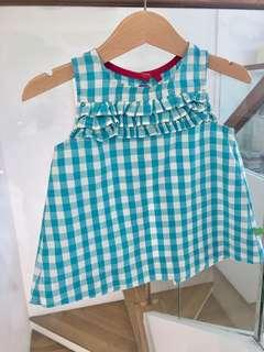 🚚 Little Bird Turquoise Check Top