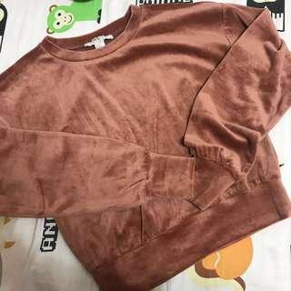 Forever 21 crop nude orange brown velvet sweater