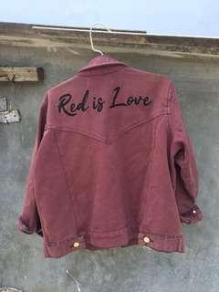 Jaket jeans merah