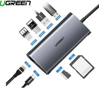 Brand New! Ugreen 8 in 1 Usb C Hub with USB 3.0, HDMI, SD - Silver