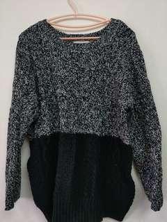🚚 雙色粗麻花針織毛衣