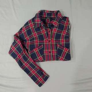 🚚 [二手] Net 紅藍格子襯衫 後綁帶