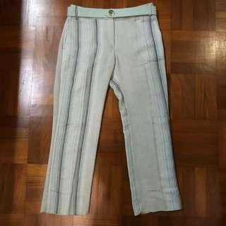 Mango Teal Striped Trousers Pants