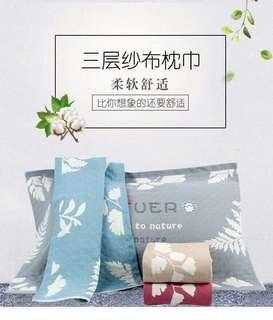 (預購)熱帶雨林三層紗布枕巾(2入)
