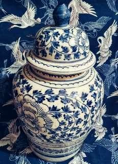 Handmade 1890 Copy Ming Blue & White Large Porcelain Flowers Motif Temple Jar Ginger.