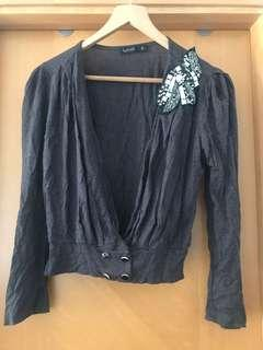 Dark grey top with embroidery
