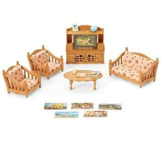 🚚 BN Sylvanian Families / Calico Critters Comfy Living Room Set (Includes 2 sets of Sofa Cushion Designs)