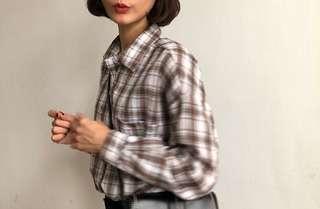 🚚 92pleats 焦糖牛奶格子襯衫