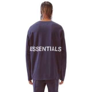 Fear of God Essentials Boxy Graphic Long Sleeve Tee - Navy