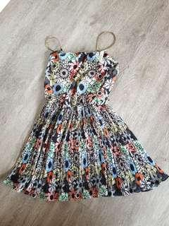 🚚 Floral Dress with Gold Straps