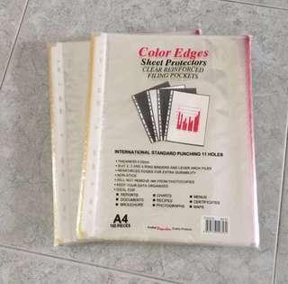 100-pcs A4 Colour Edges Clear File Pockets