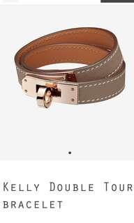 Hermes kelly double tour bracelet in etoupe
