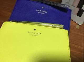 (CLEARANCE) Kate Spade Wristlet Leather Clutch Coins Pouch Wallet Purse - Black Brown Nude Khaki Sands Yellow Neon Grey Off White Green Sky Blue Tiffany Blue Gold Electric Blue Silver Red Pink Orange Cream Wedding Pouch Wedding Clutch Wallet Wedding Purse
