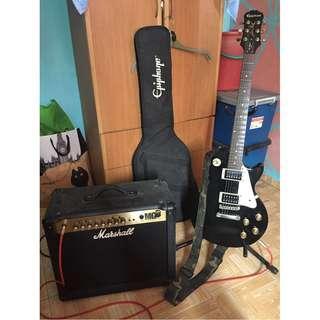 Epiphone Guitar Gitar with Marshall Amplifier Amp