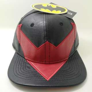 newest collection 76cf9 46195 DC Comics NightWing Red Logo Leather Snap Back Cap