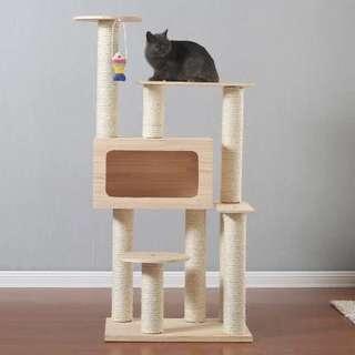 四層實木貓架